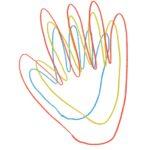 übereinanderliegende gezeichnete Hände als Umrisse