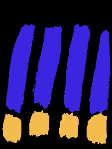 Mit dicken Pinselstrichen 4 Ausrufezeichen in blau mit gelbem Punkt