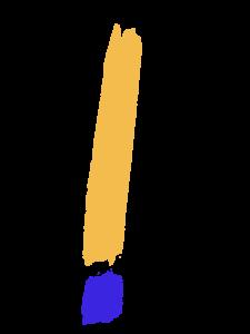 Ausrufezeichen mit dickem Pinselstrich gelb und blauer Punkt