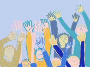 gezeichnetes Bild von winkenden Kindern