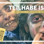 Ein Selfie von Mutter und Kind als Zombies geschminkt, die eine lustige Grimasse machen. Die Überschrift dazu lautet: Teilhabe ist: Einen Schulplatz zu finden, bevor man verschimmelt.